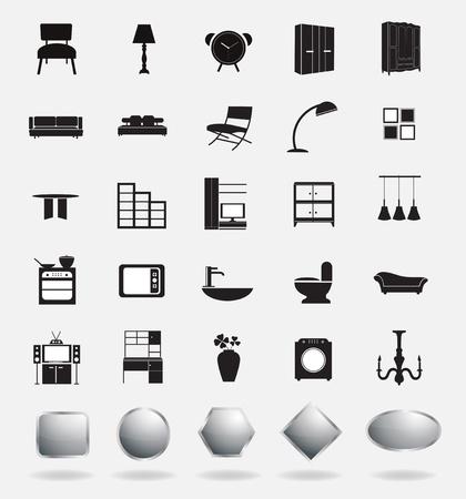 headboard: furniture icons Stock Photo