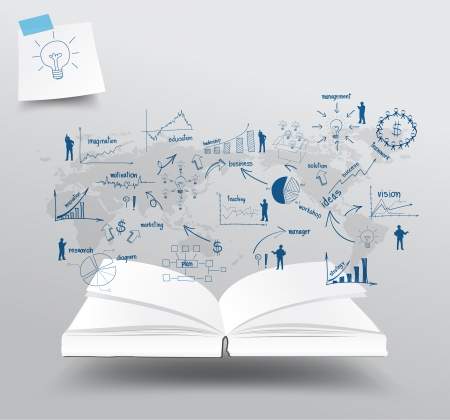 economie: Boek met tekenen en grafieken zakelijke strategieplan conceptenidee op wereldkaart, illustratie sjabloon ontwerp