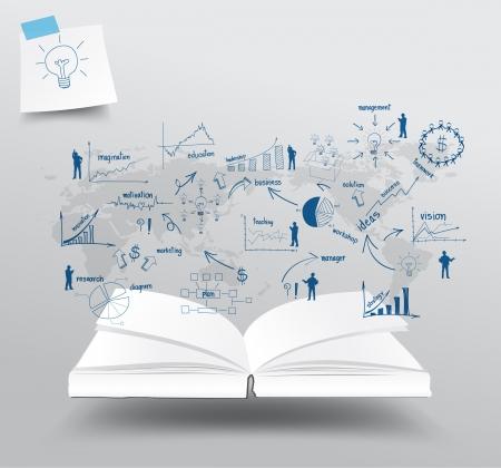 economia: Libro con las cartas de dibujo y gr�ficos de negocios estrategia de plan de idea sobre el concepto de mapa del mundo, dise�o de la ilustraci�n del modelo
