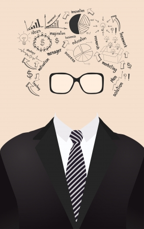 human face is made up of with drawing business strategy plan concept idea Vector