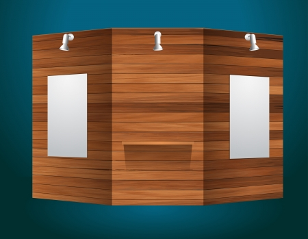 Exhibition stand with wood texture, Vector illustration modern design template Vector