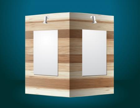 Wooden exhibition stand, Vector illustration modern design template Vector