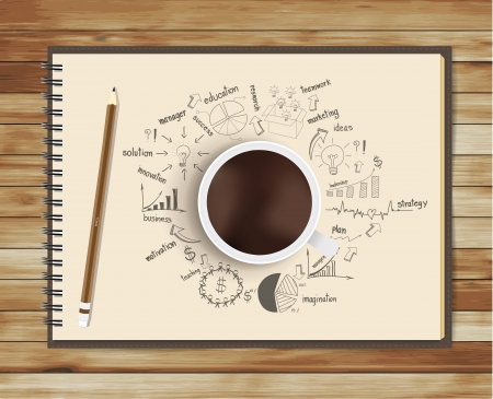 old diary: Vector coffee cup with notebook and drawing business strategy plan on the desk Illustration