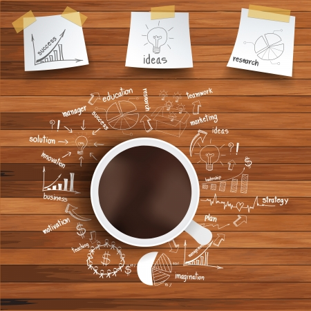 coffee meeting: Vector coffee cup and business strategy on wooden table Illustration