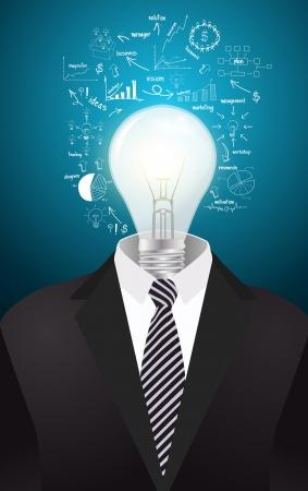attire: Lamp head businessman have got an idea