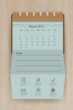 Calendar for march 2014 Vector