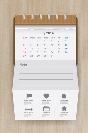 Calendar for July 2014 Vector