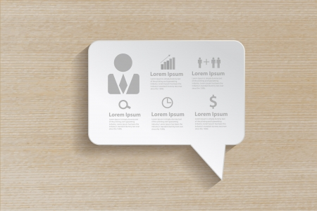 Speech bubble with business icons on wooden background, Vector illustration modern template design   Vector