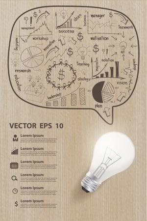 Cartes de dessin créatifs et graphiques stratégie Business plan concept avec l'idée d'ampoule sur la texture du bois Illustration