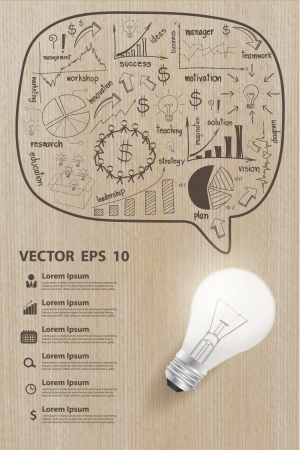 Creative drawing charts and graphs business strategy plan concept with light bulb idea on wood texture Ilustração