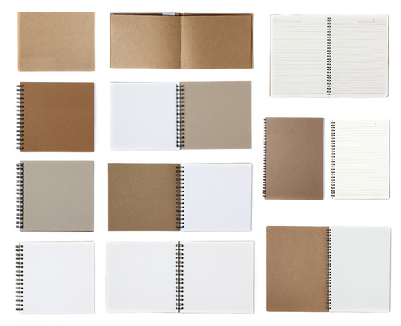 sketchbook: Notebook paper isolated on white background Stock Photo