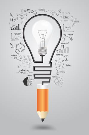 Infographie modèle. Stratégie d'entreprise concept du plan idée, ampoule avec des icônes d'affaires et crayon moderne. Vector illustration conception de modèle de présentation