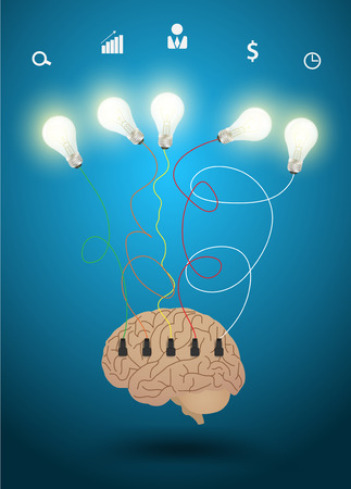 Light bulb with brain idea concept, Inspiration concept modern design template workflow layout, diagram, step up options, Vector illustration Vector