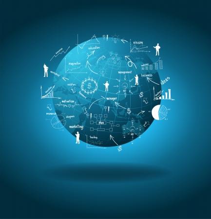 벡터 드로잉 차트 및 그래프 사업 계획과 함께 세계 경제의 개념을, 글로벌 비즈니스,