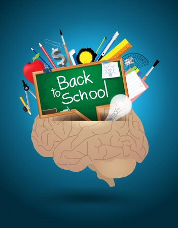 Vector creative brain mixed school supplies idea concept Vector