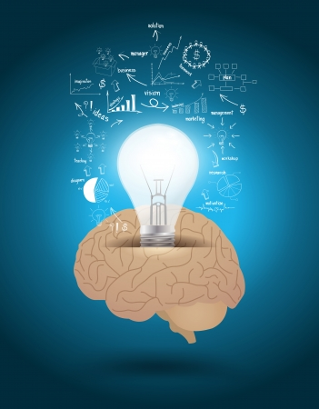 Vector creative light bulb with brain drawing business strategy plan concept idea
