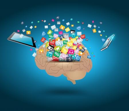 뇌 아이디어 개념 다채로운 응용 프로그램 아이콘의 벡터 크리 에이 티브 구름 일러스트