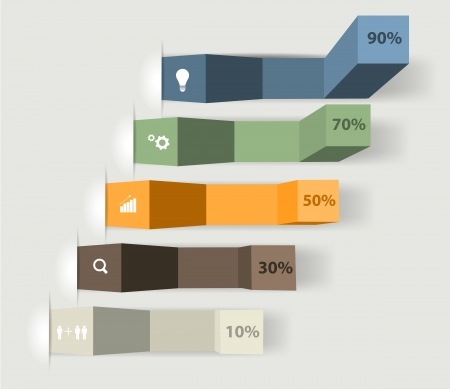 성공 차트 및 그래프 옵션 배너 벡터 일러스트 레이 션의 현대적인 디자인 서식 파일 현대 비즈니스 단계