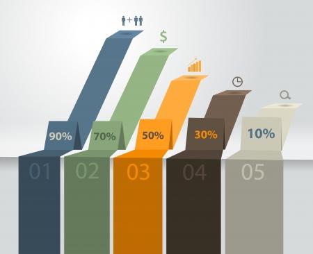 성공 차트 및 그래프 옵션 배너 벡터 현대 비즈니스 단계