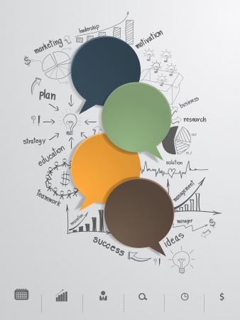 창조적 인 그림의 비즈니스 전략 계획의 개념 아이디어와 벡터 연설 거품 일러스트