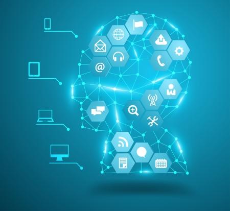 global communication: Human head with social network icons, Communication in the global computer networks, Vector illustration modern design template