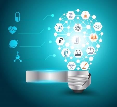 화학 및 과학 아이콘 교육 개념, 벡터 일러스트 레이 션의 현대적인 디자인 템플릿, 워크 플로우 레이아웃, 다이어그램, 옵션을 단계와 창조적 인 전구