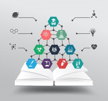 화학 및 과학 아이콘 교육 개념, 벡터 일러스트 레이 션의 현대적인 디자인 템플릿, 워크 플로우 레이아웃 도서, 다이어그램, 옵션을 단계