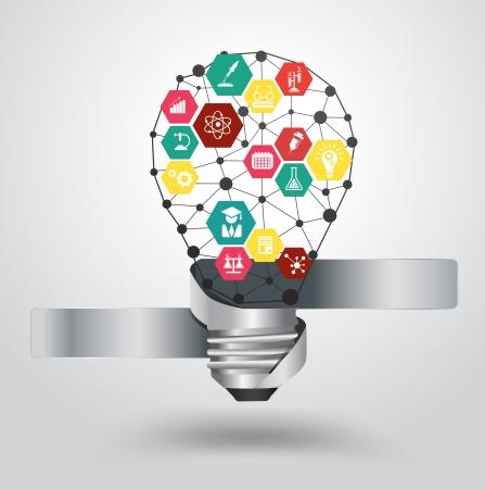 Creative ampoule abstrait hexagone modèle léger infographie design moderne avec la chimie et l'icône de la science, illustration moderne de vecteur modèle de conception