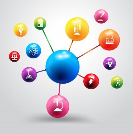 Model van atoom met chemie en wetenschap pictogram onderwijsconcept, Vector illustratie