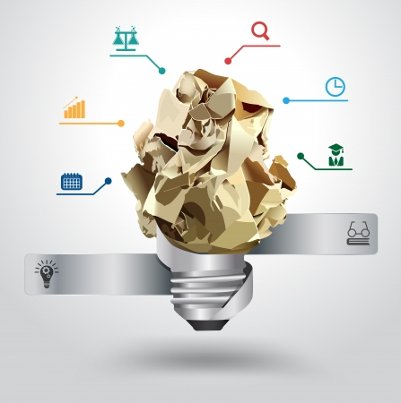 crumpled paper ball: Vector creative light bulb idea with crumpled paper Inspiration concept