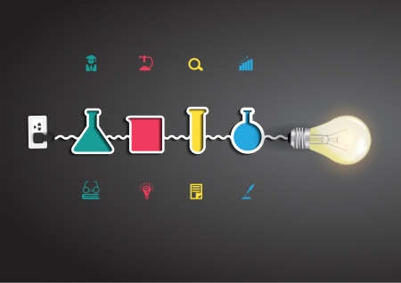 Vector creative light bulb idea with chemistry and science icon education concept