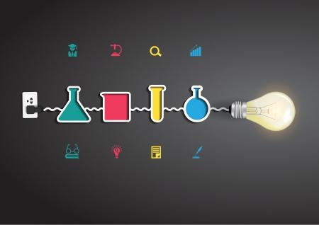 Vector creativo luce idea lampadina con la chimica e la scienza concetto di istruzione icona