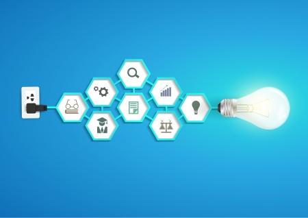 Vector créatif idée ampoule à six pans chimie et icône du design du modèle moderne