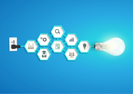Vector creative light bulb idea with hexagon chemistry and science icon modern template design Ilustracja