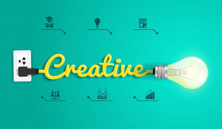 pensamiento creativo: De plantillas creativas de dise�o moderno, bulbo idea abstracta de dise�o de flujo de trabajo infogr�fico Light, diagrama, intensificar opciones, ilustraci�n vectorial