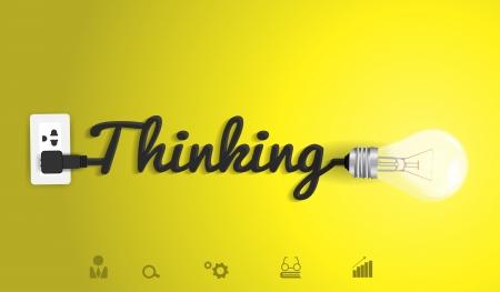 pensamiento creativo: Pensando de plantillas de diseño moderno, luz de bulbo idea abstracta de diseño de flujo de trabajo creativo infografía, diagrama, intensificar opciones, ilustración vectorial Vectores