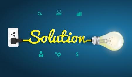 ソリューション概念のモダンなデザインのテンプレート、創造的な電球アイデア抽象的なインフォ グラフィック ワークフロー レイアウト、図、ス