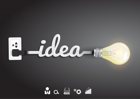 Creative light bulb idea abstract infographic, Inspiration concept modern design template workflow layout, diagram, step up options, Vector illustration