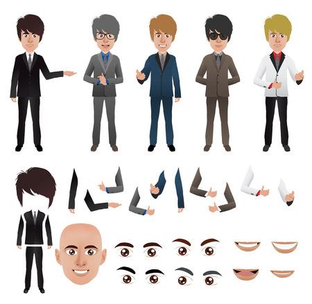 Vecteur homme d'affaires avec des parties du modèle de corps pour le travail de conception Illustration
