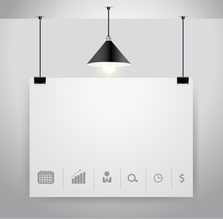 exhibitor: Poster on wall and lamp, Vector illustration template modern design Illustration