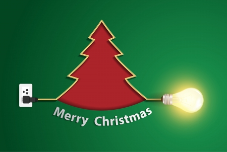 Creative christmas tree with wire light bulb idea, Vector illustration modern template design Stock Vector - 23291659