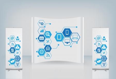 Stand d'exposition avec nuage de icône de l'application, logiciel de gestion de la technologie et des médias de réseautage social en ligne Service idée concept de magasin, illustration vectorielle conception moderne de modèle de présentation Illustration