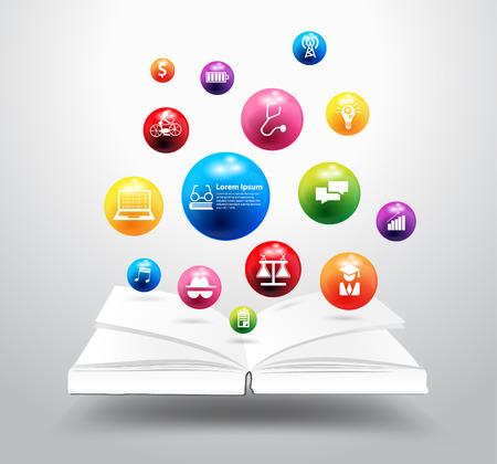 Open books with icon education idea concept