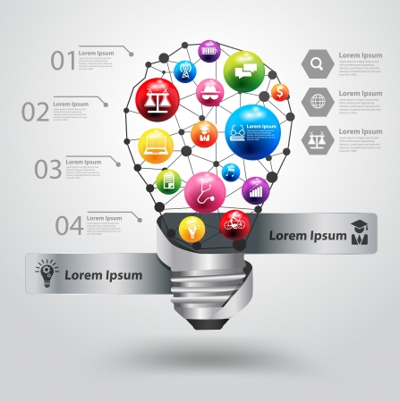Creative light bulb with icon education idea concept Stock Vector - 23469723