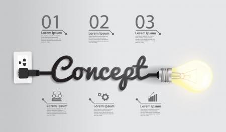 Creative light bulb idea abstract infographic Illustration