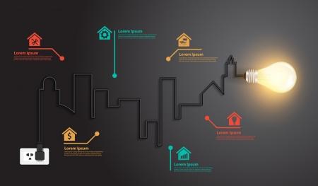 electricidad: Luz de alambre edificios idea bulbo creativas y puntos de referencia conceptuales inspiraci�n