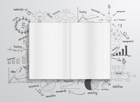 チャートおよびグラフの成功ビジネス戦略計画コンセプトのアイデアを描画を予約します。  イラスト・ベクター素材