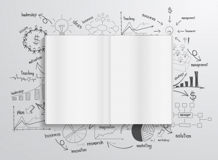 economia: Libro con las cartas de dibujo y gr�ficos �xito empresarial estrategia de plan de idea concepto