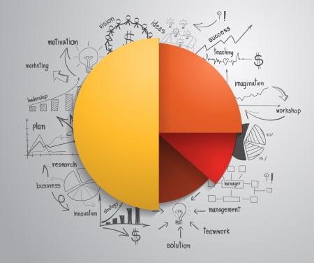 Infographies affaires cercle avec le dessin réussite commerciale stratégie concept de plan idée