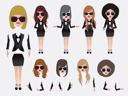 Vector business woman, With character parts of the body template for design work
